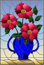 Stained glass illustration with still life, bouquet of pink flowers in a blue vase Royalty Free Stock Photo