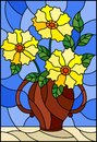 Stained glass illustration with still life, bouquet of yellow flowers in a ceramic vase on a blue background Royalty Free Stock Photo