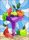 Stained glass illustration with still life, fruits and berries in a purple vase on a blue background Royalty Free Stock Photo
