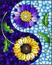 Stained glass illustration with sunflower and Aster flowers on a blue background, rectangular image Royalty Free Stock Photo