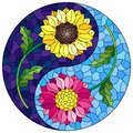 Stained glass illustration with  sunflower and Aster flowers in the form of a Yin Yang sign on a blue background, round image Royalty Free Stock Photo