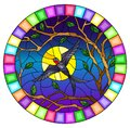 Stained glass illustration with  a swallow bird on the background of tree branches and night sky with the moon, oval image in a br Royalty Free Stock Photo