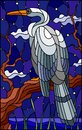 stock image of  Stained glass illustration with a white Heron bird sitting on a tree on a background of swamp and starry night sky