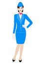 Illustration of stewardess dressed in blue uniform