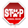 Illustration stop the abuse of animals as a sign of animal protection Stock Photography