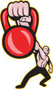 Illustration of a strongman crossfit training lifting kettlebell or girya viewed from front on isolated background Royalty Free Stock Photo