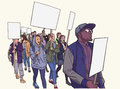 Illustration of student demonstration with blank signs