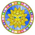 Stained glass illustration window with abstract sun in bright frame,round image Royalty Free Stock Photo