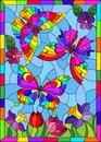 Stained glass illustration with beautiful bright butterflies on a background of flowers and a blue sky, in a bright frame Royalty Free Stock Photo