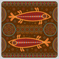 Illustration with stylized fish in the ethnographic style.