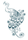 Illustration with stylized ornamental peacock isolated outline on white background Stock Photography