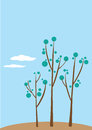 Illustration of stylized trees Royalty Free Stock Images