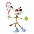 Illustration on a subject a dog the tennis player before championship Stock Photo