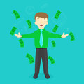 Illustration of success businessman standing under falling Royalty Free Stock Photo