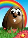 Illustration summarizing easter bunny easter eggs single image set meadow green grass flowers rainbow background Stock Photos