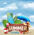 Summer holiday background with a wooden sign for text and beach elements