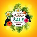Summer sale banner with tropical flowers and leaves. Toucan and Exotic Leaves on Nature Green Background Royalty Free Stock Photo