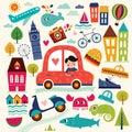 stock image of  Illustration with summer symbols. Summer travel.
