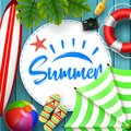 Summer time banner design with white circle for text and beach elements on wood background Royalty Free Stock Photo