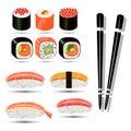 Illustration sushi roll, Chinese food, flat design