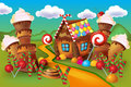 Illustration of sweet house of cookies and candy Royalty Free Stock Photo