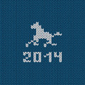 Illustration with symbol of new year horse on a knitting background Stock Photo
