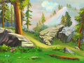 Illustration take a short rest in the mountain woodland fantastic cartoon style wallpaper background scene design Royalty Free Stock Image