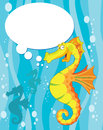 Illustration talking sea horse Royalty Free Stock Photo