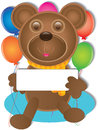 Illustration of teddy bear holding board showing welcome face on white background and balloons this eps file info version Royalty Free Stock Photo