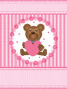 Illustration of teddy bear love card top and bottom is your sample text also feminine design suitable for your products cover this Stock Photo