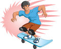 Illustration of teen boy skateboarding Royalty Free Stock Photo
