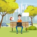 Illustration of a Teenagerl Using Her Laptop in a Bench in the Park, cartoon style,vector