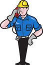Illustration of a telephone repairman lineman worker talking on phone done in cartoon style Stock Photography