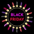 Illustration template for sale `Black friday` with pink, red, violet, black lipstick on gold boxing. Black background