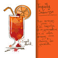 Illustration with tequila sunrise cocktail hand drawn Royalty Free Stock Photos