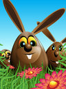 Illustration three chocolate easter egg shaped easter rabbit meadow flowers blue brown green Stock Photography