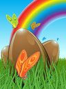 Illustration three chocolate easter eggs hidden meadow butterflies background you can see rainbow blue brown green Royalty Free Stock Photo