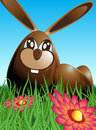 Illustration three chocolate easter eggs hidden meadow flowers egg shaped easter bunny blue brown green Stock Photography