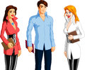 Illustration three students two women man each holding book white background Royalty Free Stock Image