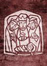 Illustration of the three wise men and baby Jesus Christ Royalty Free Stock Photo