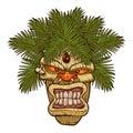 Illustration of a tiki totem.tiki cartoon. Royalty Free Stock Photo