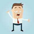 Illustration tired businessman yawning isolated pale blue background Royalty Free Stock Photo