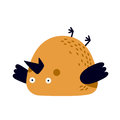 Illustration of tired or frustrated bird lying on a back Royalty Free Stock Photo