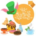 Illustration to the fairy tale Alice`s Adventures in Wonderland. Sweets and pastries. Green hat and treats. Template