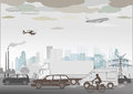 Illustration of traffic smog and pollution Royalty Free Stock Images