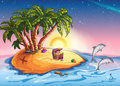 Illustration Treasure Island at sunset and cheerful dolphins Royalty Free Stock Photo