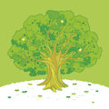 Illustration of the tree on the hill Royalty Free Stock Images