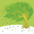 Illustration of a tree swaying in the wind Royalty Free Stock Photography