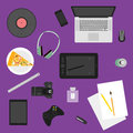 Illustration in trendy flat style with objects used in usual life of people on purple background for use in design vector Stock Photo