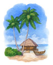 Illustration of the tropical beach watercolor Stock Photography